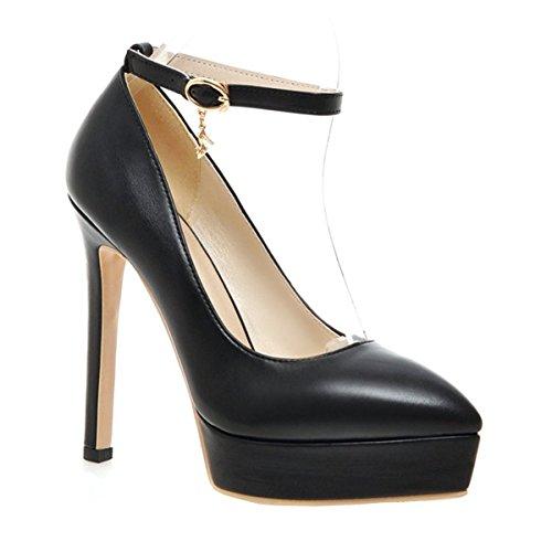 YE Knöchelriemchen High Heels Spitz Plateau Stilettos Pumps mit Schnalle Klassisch Elegant Party Schuhe Damen Schwarz