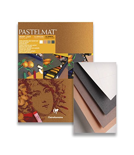 Pastelmat 12 Sheet Pad - White, Anthracite, Sienna, Brown Sheets - 9''x12'' by Clairefontaine