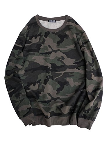 (Ougedi Crewneck Camouflage Sweatshirts Army Long Sleeve Pullover Shirts Tops (XXX-Large))