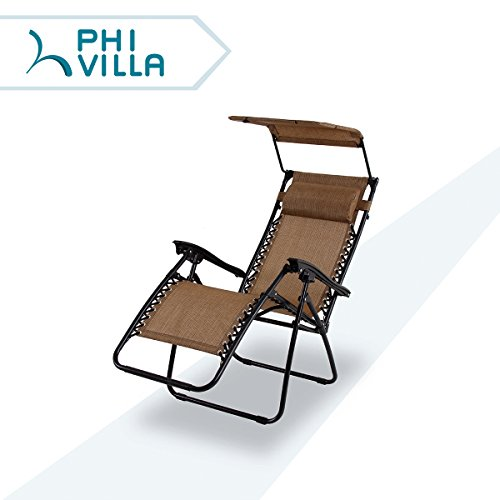 PHI VILLA Textilene Zero Gravity Lounge Chair Patio with Canopy Folding Adjustable Reclining Chair, Brown (Chair Recliner Textilene)
