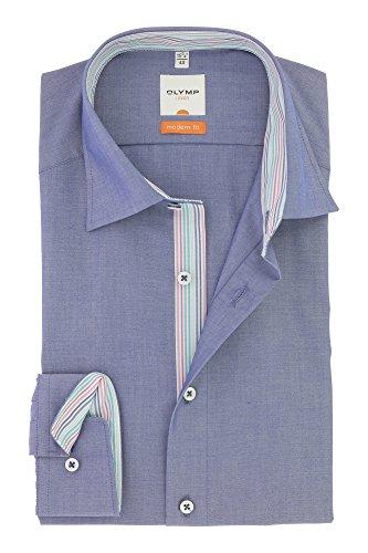 OLYMP Business & Freizeit Hemd aus der Serie Luxor Langarmhemd mit Kent Kragen Modern Fit Schnitt Gr.40 Blau Jeansoptik