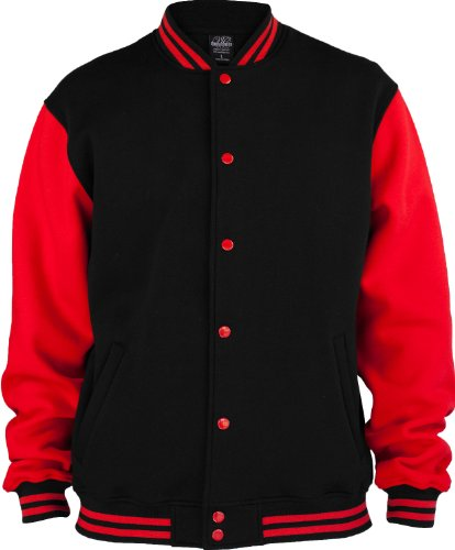 "Urban : ""2-tone College Sweatjacket"" Size: XXL, Color: black-red …TB207"