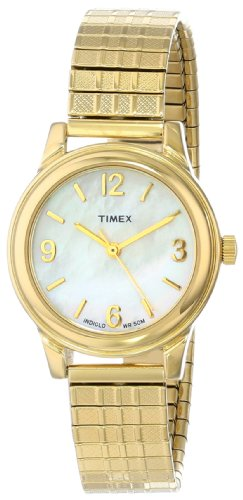 (Timex Women's Dress Watch | Mother of Pearl Dial Gold-Tone Band | T2N843)