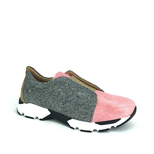 Mujer Grey De Zapatillas Para Pink Cuero Run200b wq4CHg