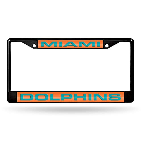 Rico Industries NFL Miami Dolphins Laser Cut Inlaid Standard Chrome License Plate Frame, Black