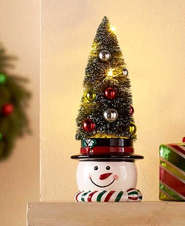 Vintage Lighted Bottle Brush Trees - Snowman Bottle