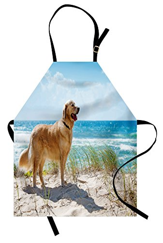 Lunarable Dog Lover Apron, Golden Retriever on a Sandy Dune Overlooking Tropical Beach Ocean Outside Sky, Unisex Kitchen Bib Apron with Adjustable Neck for Cooking Baking Gardening, Green Camel