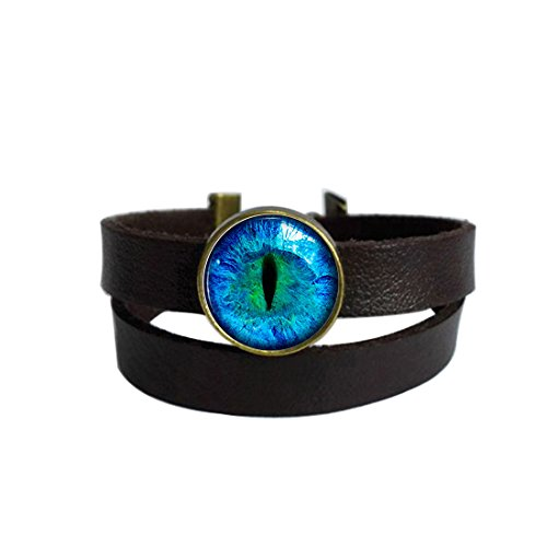LAROK WAZZIT Two Layers Design Dark Brown Leather Cuff Bangle Justice Dragon Eye Rope Wristband Bracelet with Glass Pendant ()