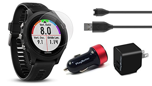 Garmin Forerunner 935 (Black) Power Bundle | Includes Running GPS Watch, Glass Screen Protectors (x2), PlayBetter USB Wall/Car Charging Adapters | Multi Sport GPS, Advanced Metrics, Wrist Heart Rate