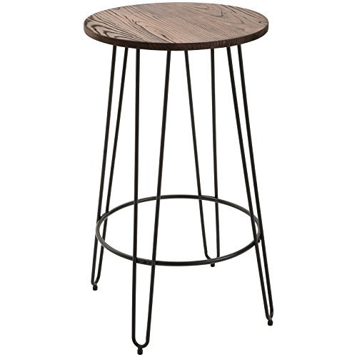 HOMCOM 42'' Retro Elm Wood Round Top Bar Table Pub Bistro Patio Table Lightweight Steel by HOMCOM