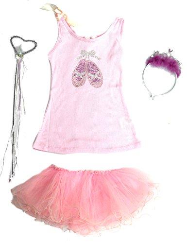 4 Pc Ballerina Tutu Set with Gem Tank Top & Headband Tiara Ages 3-5