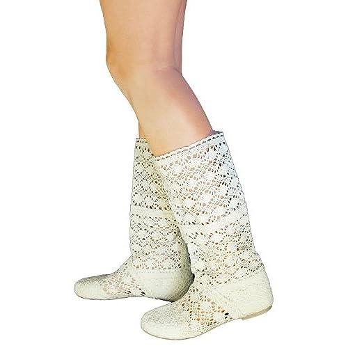 fc3a778ffe1ca on sale BABOOTS Women's Summer BEIGE Crochet Boots - cohstra.org