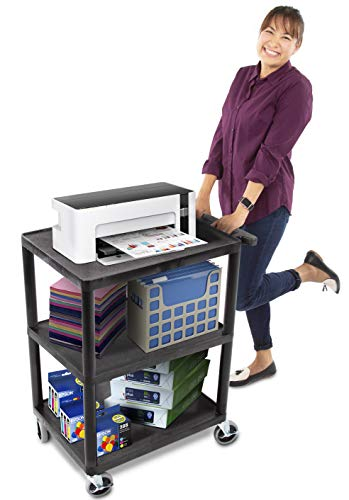Tubstr Printer Cart - Flat Shelf, Compact & Heavy-Duty Storage Cart | Supports up to 300 lbs! | Great for Home, Office, Warehouse & More! (Black / 28