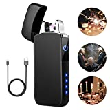Lighter TECCPO Double Arc Lighter Windproof USB Lighter with Touch Switch, LED Power Indicator - TDEL02P