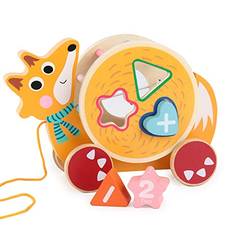sdazz Wooden Shape Sorter Pull Toy | Educational Toys for Toddler 1 2 3 Year Old | Wooden Fox Animal Puzzles Learning Blocks Toys Birthday Gifts for Baby Boys - Sorting Bus Shape