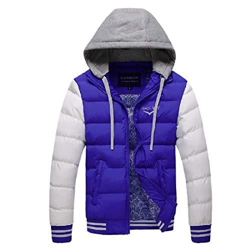 Cotton Blue Hood Thicken RkBaoye Mens Coat Pockets Contrast Jacket I4qBFAcw