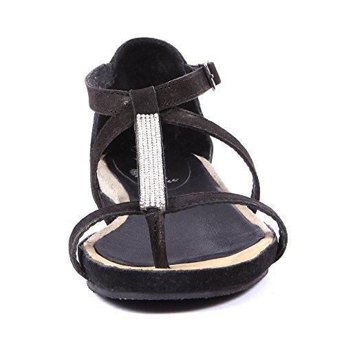 Damen Sandalen Leder Freizeit Mode Schwarz und Beige Schwarz