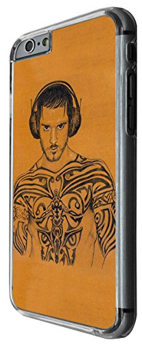 1109 - cool fun tattoo art man gym inspiration headphones music sexy motivational Design For iphone 6 Plus / iphone 6 Plus S 5.5'' Fashion Trend CASE Back COVER Plastic&Thin Metal -Clear