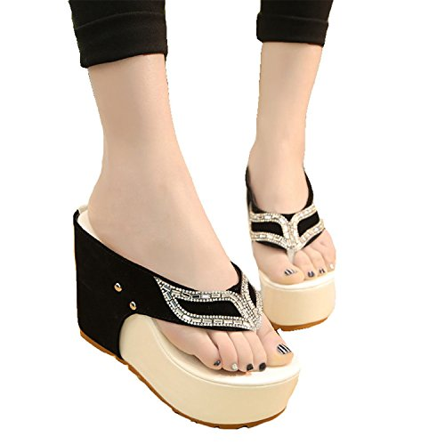 slimming summer Thong 12cm 2018 and The White 8 In diamond cool Lady's women's the new Taller wedge sandals shoes qqtw6xfp