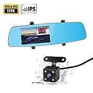 """Apleye Dash Cam, 5.0 """"écran IPS 170 ° grand angle Full HD 1296P mise à niveau caméra double caméra enregistreur vidéo pour véhicules miroir avant et arrière Dashcam DVR avec mode de stationnement G Sesor Supérieur Vision nocturne"""
