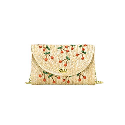 - Vertily Embroidered Straw Shoulder Bag Handmade Woven Bag Cherry Crossbody Girl Sweet Temperament Wild Casual Bag