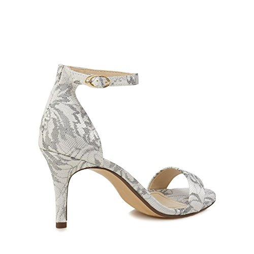 Debut Womens Pale Grey Lace 'Daisy' High Stiletto Heel Ankle Strap Sandals wbhJb4pE2d