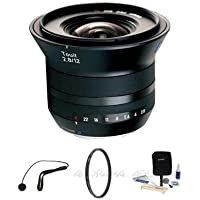Zeiss 12mm f/2.8 Touit Series for Fujifilm X Series Cameras - Bundle with VU-Sion 67mm UV Multi-Coated Filter, Flashpoint CapKeeper Model CK-2 Lens Cap Leash, Adorama Cleaning Kit