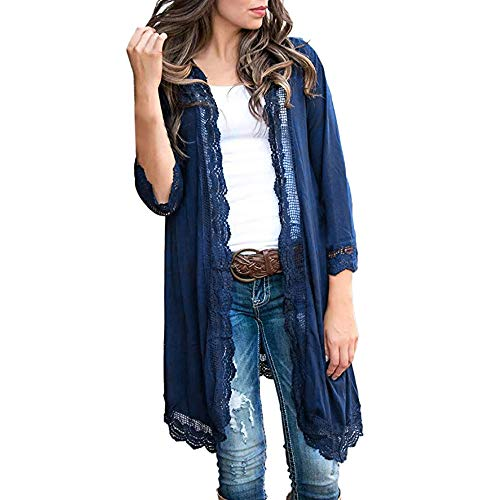 Women Solid Lace Patchwork Flash Sleeve Shawl Cover Up Kimono Cardigan Navy