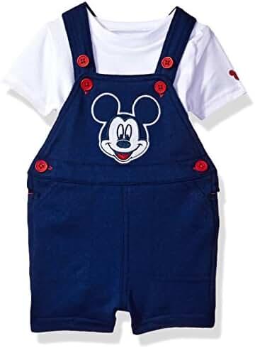 Disney Baby Boys' Mickey Mouse 2-Piece Shortall and T-Shirt Set