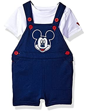 Baby Boys' Mickey Mouse 2-Piece Shortall and T-Shirt Set