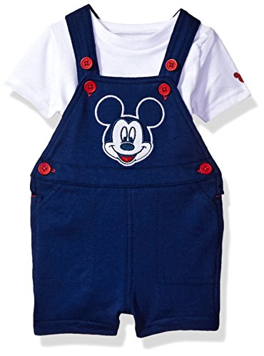 Disney Baby Boys Mickey Mouse 2-Piece Shortall and T-Shirt Set