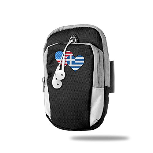 ROUGRE American Greece Greek Heart Flag-1 Sports Armband Sweat Resistant ArmBag For Smartphone IPhone 6 7 8 X Android Samsung Galaxy