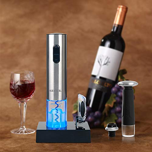 Secura Deluxe Wine Lovers Gift Set | 7-Piece Wine Accessories Set | Electric Wine Opener, Wine Foil Cutter, Wine Saver Vacuum Pump + 2 Wine Stoppers by Secura (Image #4)