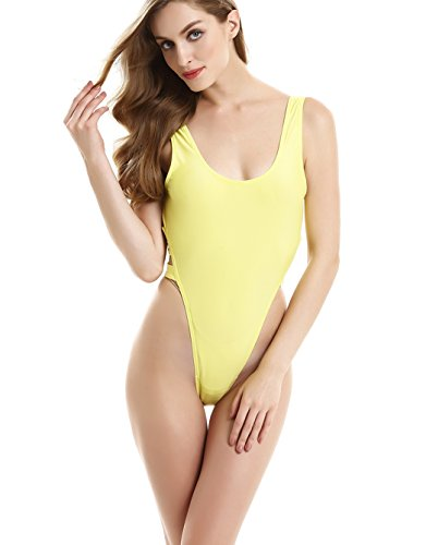 stripsky One Piece High Cut Swimsuit (M(US4-6),Yellow)