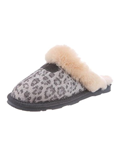 Bearpaw Women's Loki Slippers, Silver Suede, Sheepskin Fur, 12 M