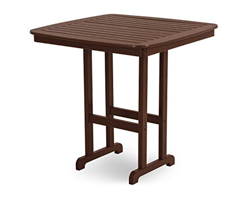 POLYWOOD Outdoor Furniture Nautical 44 Inch Bar Table, Mahogany-Recycled Plastic Materials