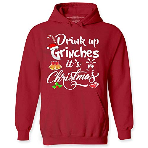 My Frog Store Drink Up Grinches It's Christmas Funny Drunk Wine Beer Party Hoodies -