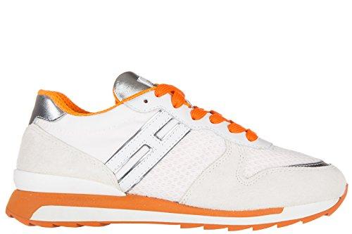 reputable site 80d2e 2dc0f Hogan Rebel chaussures baskets sneakers femme en daim r261 allacciato blanc