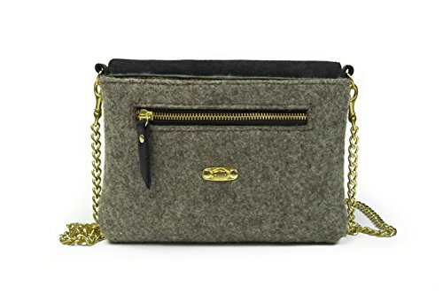 Grey Black leather Wool Bag Grey Crossbody twTXwq