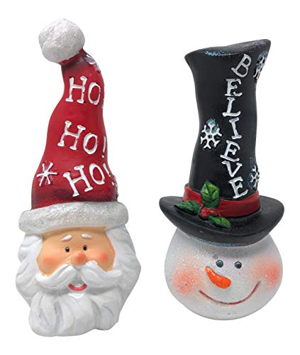 (Hanna's Handiworks Set of 2 Christmas Santa and Snowman with High Hat Tabletop Decorations for Winter Holidays with Scarves)
