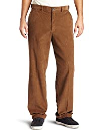 Haggar Mens Work-To-Weekend Hidden Expandable-Waist Corduroy Plain-Front Pant