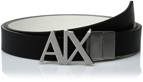 A|x Armani Exchange Women's Black Ax Hinge Belt, black/white
