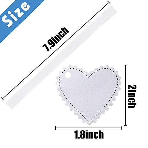 SallyFashion 100 PCS Laser Heart Tags Heart Gift Tags with 100 Ribbon for Valentines Day Party Favor Wedding Decoration