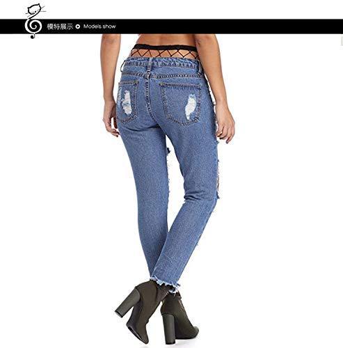 Navy Smilzi Pantaloni Damengxiang Larghi Blu Donna Skinny Nove Da Jeans SAgIAz
