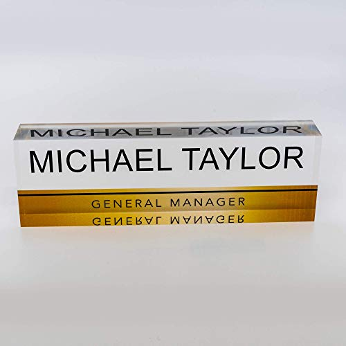 Artblox Office Desk Name Plate Personalized - Printed on Premium Clear Acrylic Glass Block Unique Designer Name Plates for Desks Accessories - (8