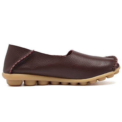 Equick Kvinnor Läder Loafers Tillfällig Mockasin Kör Utomhus Skor Inomhus Platt Slip-on Tofflor 01brown