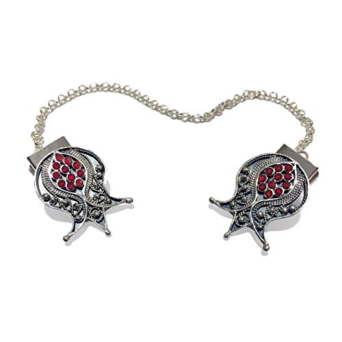 925 Sterling Silver Filigree Pomegranate With Garnet Stones Talit - Necklace Clip Designer