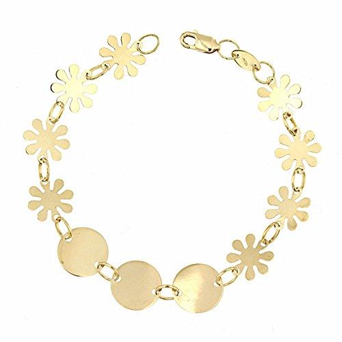 Bracelet or 18k badges 18.5cm fleurs. [AA2702]
