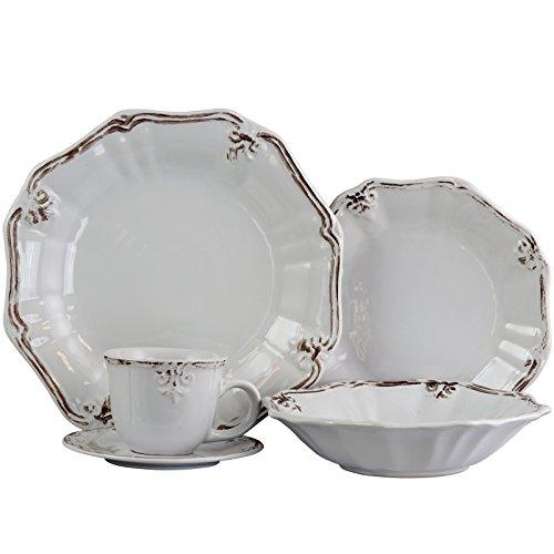 Elama 930102840M ELM-FLEURDELYS-WHITE Fleur De LYS, 20pc Dinnerware (Fleur Plates Lis De)