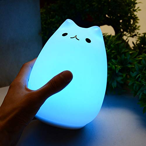 (Kids Night Light, LED Silicone Cat Night Light Lamp USB Rechargeable Toy for Kids Baby Girls Children Nursery Bedroom)
